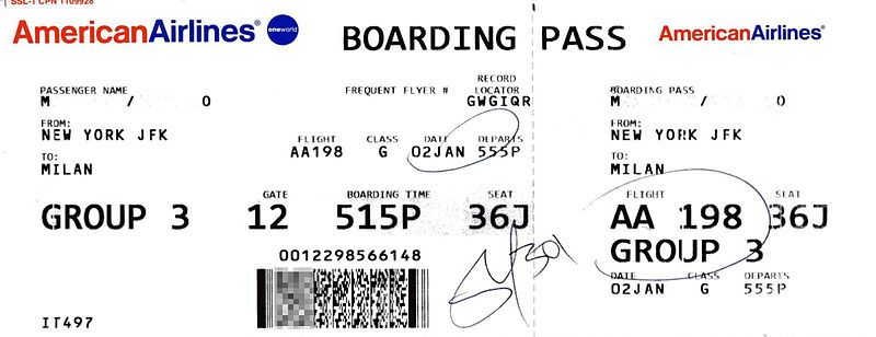 American Airlines Boarding Pass Airline Tickets D I Y