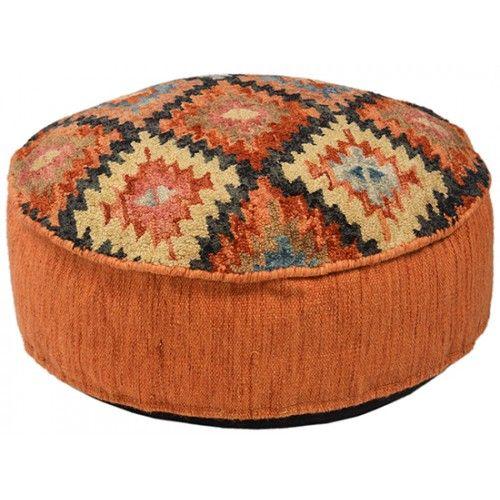 Southwestern Aztec Style Round Pouf Ottoman Kilim Pouf Ottoman
