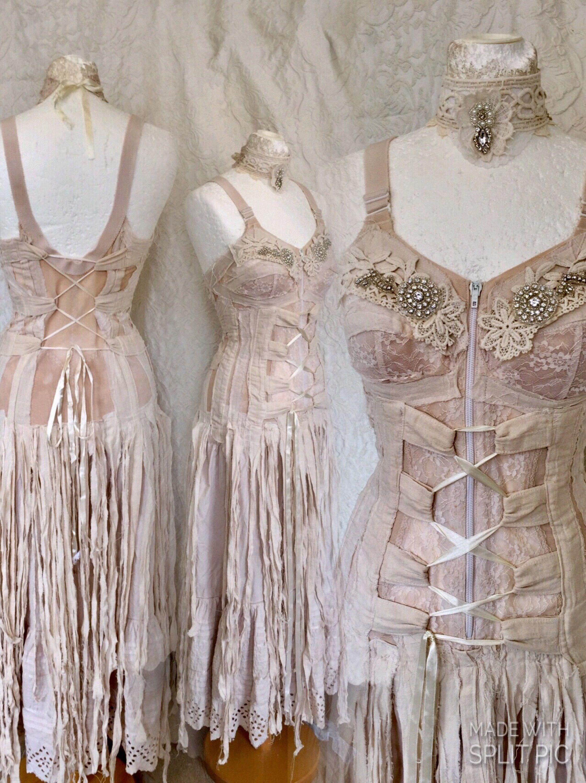 Boho wedding dress tatteredalternative wedding dressbeach wedding