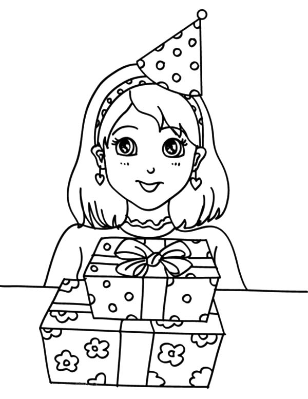 Preety Girl Birthday Party Coloring Pages - NetArt ...
