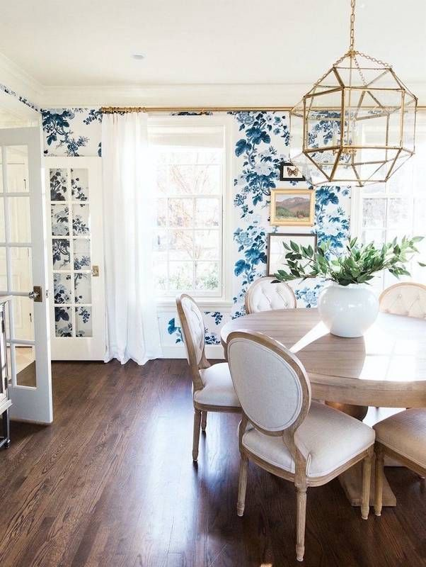 10 Reasons to Wallpaper Your Dining Room | Blue floral wallpaper ...