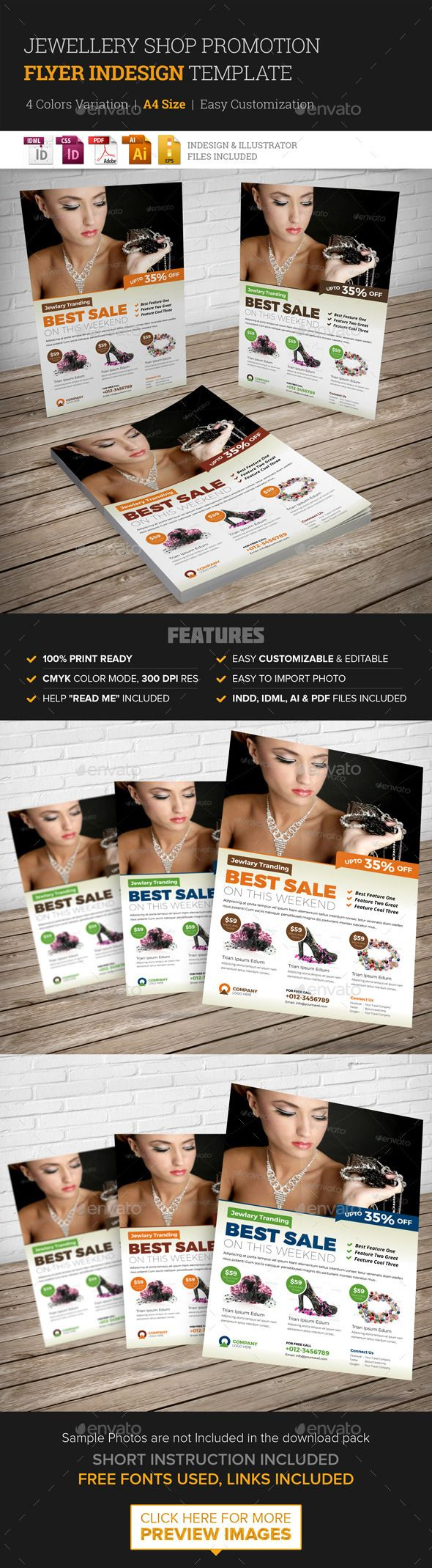 Jewellery Shop Promotion Flyer Indesign Template | Volantes