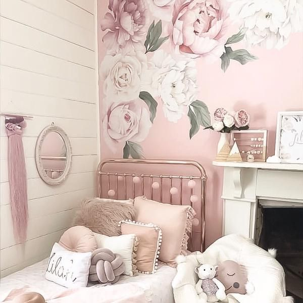 classic pink peony rose wall decals full set 10 on wall stickers for bedroom id=44780