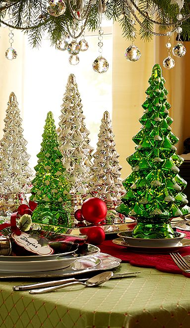 set of three twinkle trees made of mercury glass make a stunning centerpiece h200684 httpqvccoshopvalerie