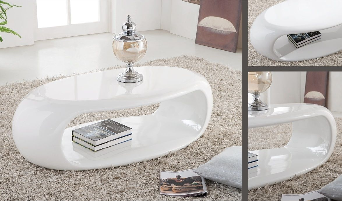 Fashion For Home Couchtisch Straas Curved High Gloss Coffee Table In White - Buy