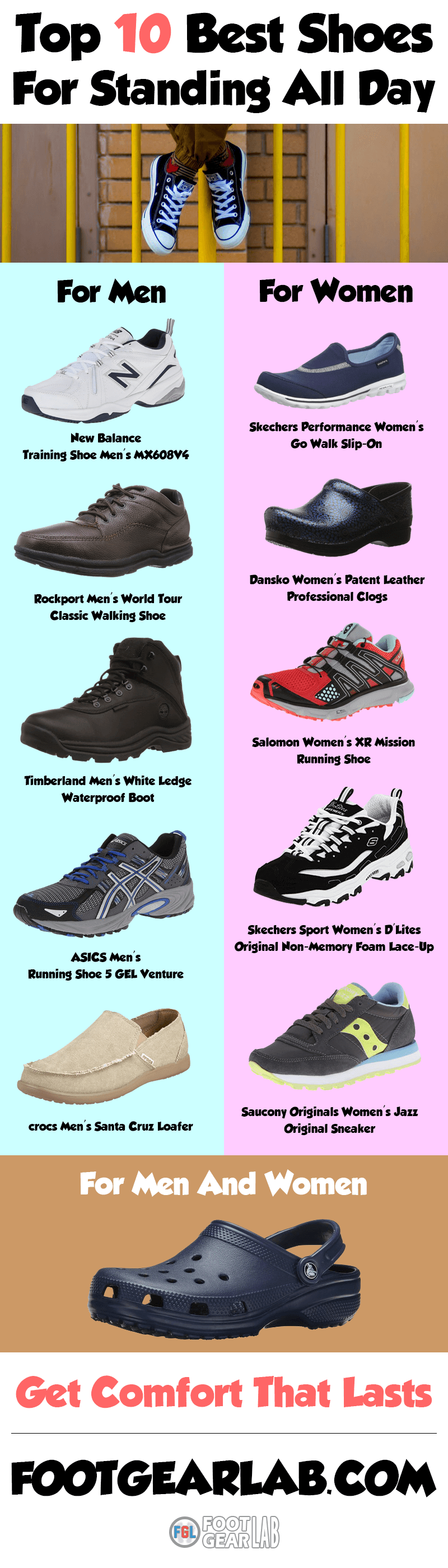 03c8bb2d0d389 Best Shoes For Standing All Day - Get Comfort That Lasts. @footgearlab  #BestShoesForStandingAllDay #ShoesForStandingAllDay #StandingAllDay