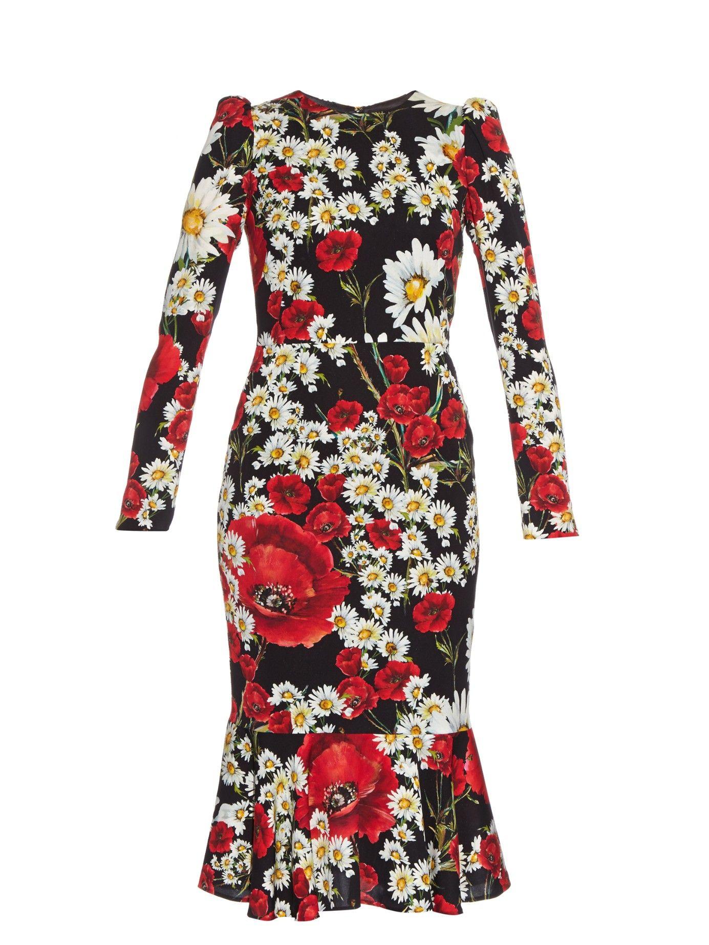 Poppy and daisy-print dress | Dolce & Gabbana | MATCHESFASHION.COM