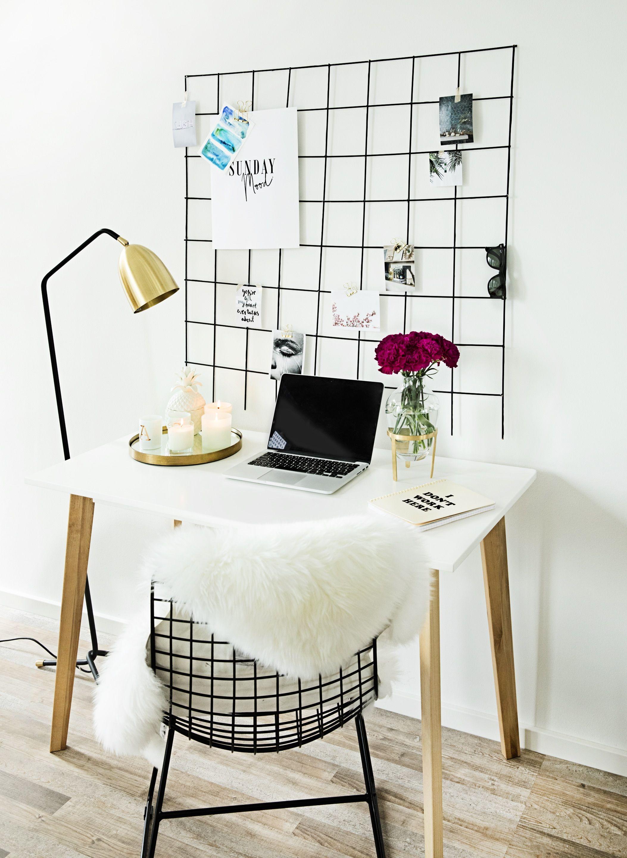 diy gitter pinnwand pinterest gitter pinnw nde und arbeitszimmer. Black Bedroom Furniture Sets. Home Design Ideas