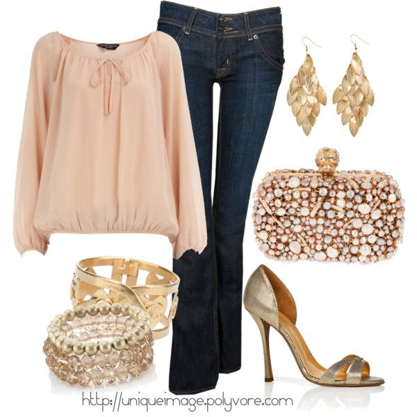 evening outfit - Blush top, jeans & Gold accessories
