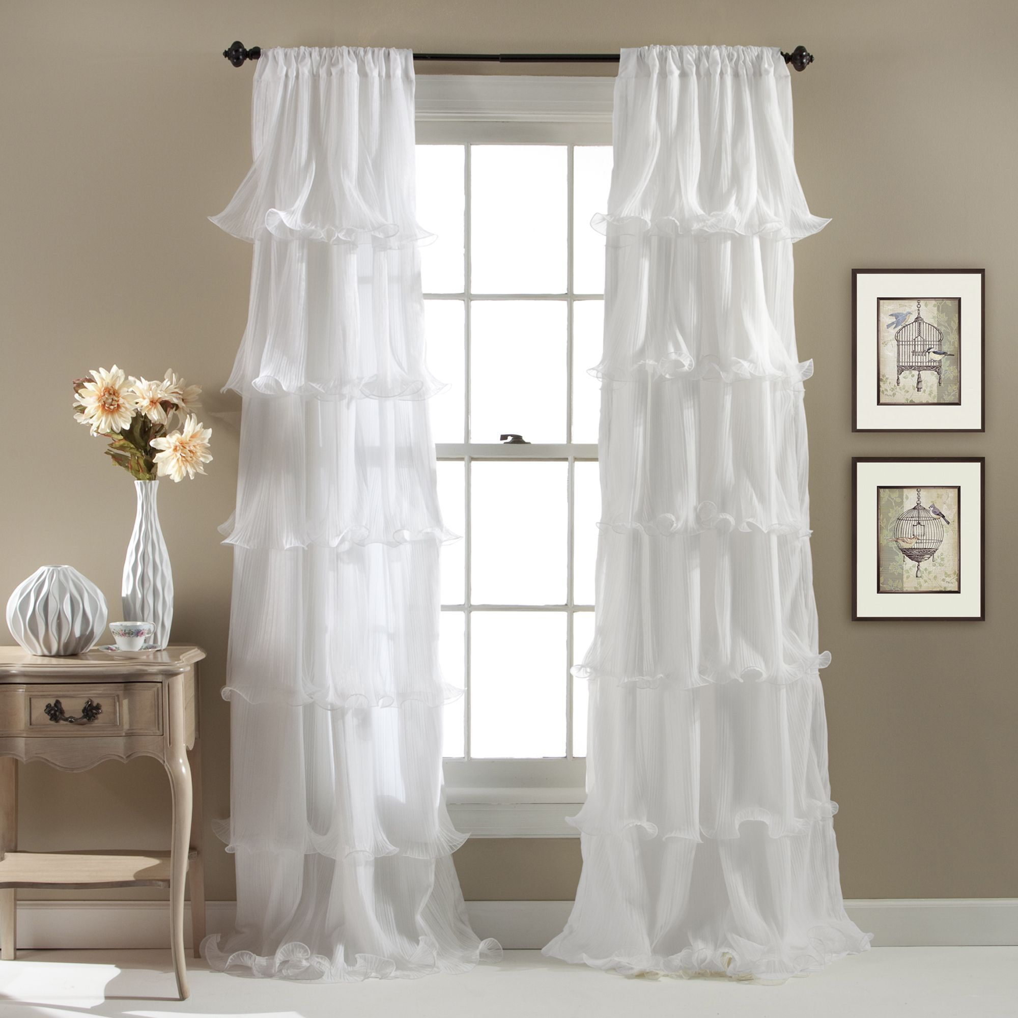 Lush Decor Nerina Ruffled Curtain Panel (White), Size 54 X