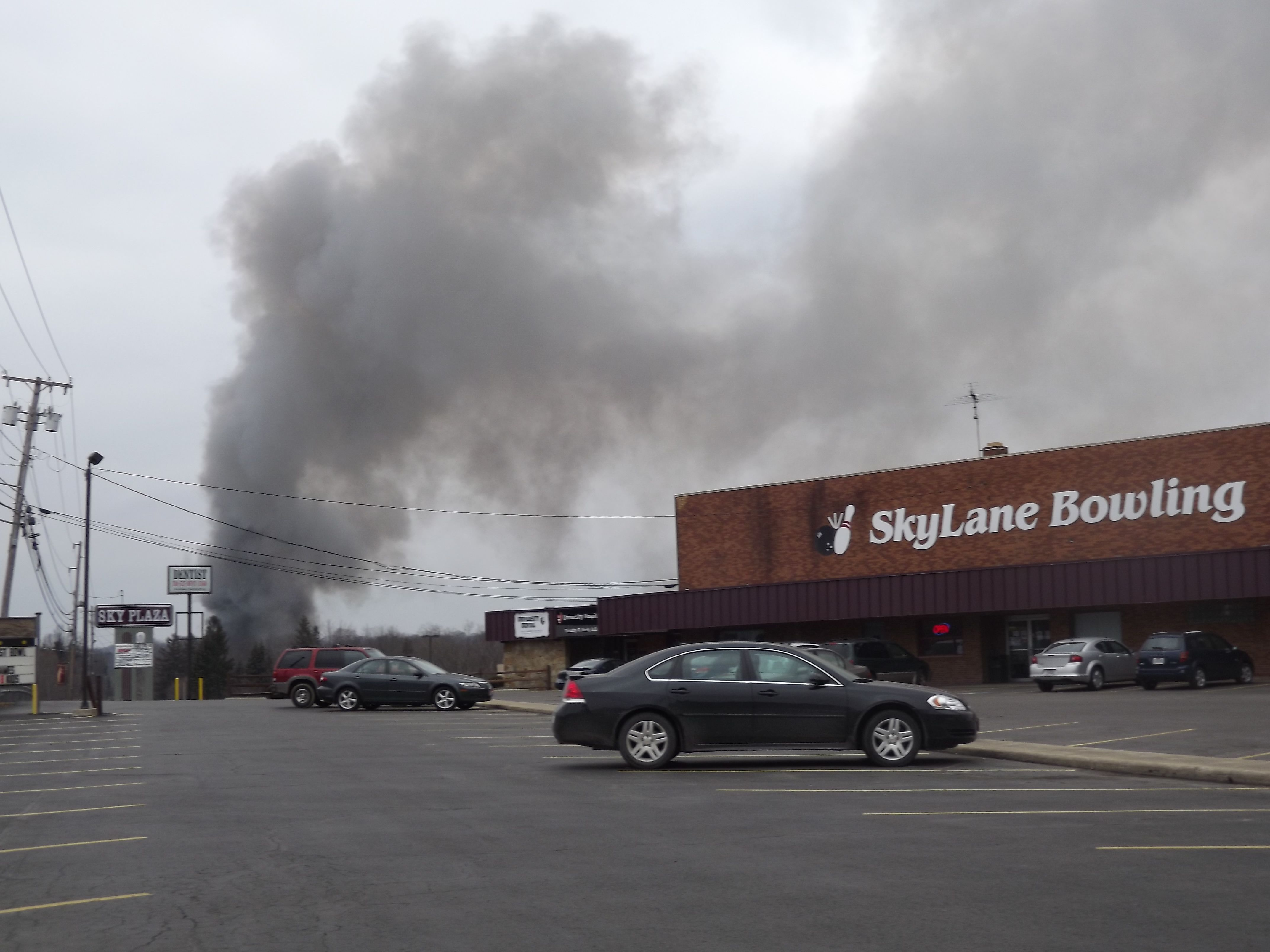 View Of Garrettsville Fire March 22 2014 From The Sky Lanes Bowling Alley Ohio Bowling Fire