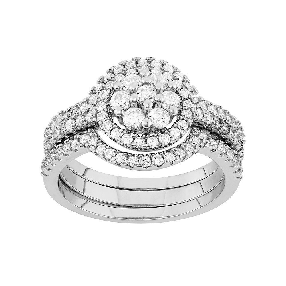 Sterling Silver Cubic Zirconia Cluster Halo Engagement