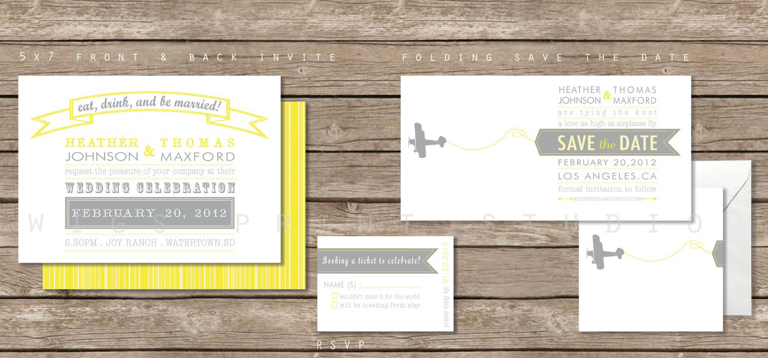 Airplane Wedding Invitation Vintage Banner 2 75 Via Etsy