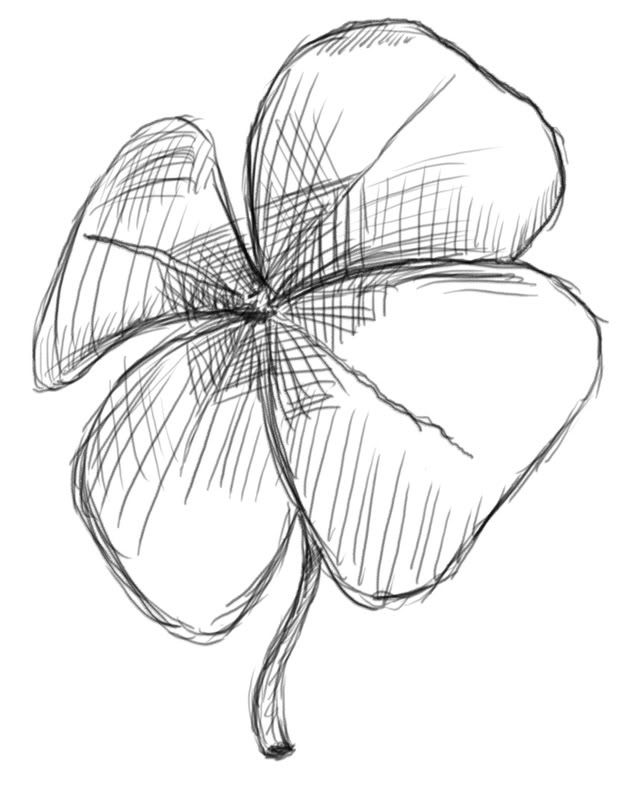 gallery for cool four leaf clover drawing