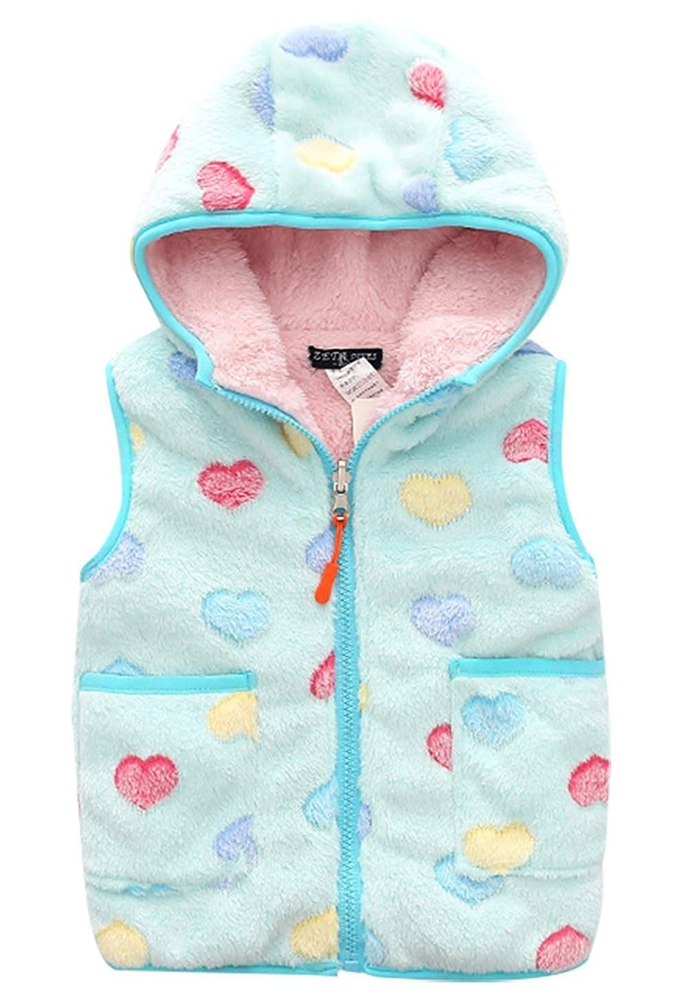 Girls Polar Fleece Vest Reversible Cartoon Zipper Hooded