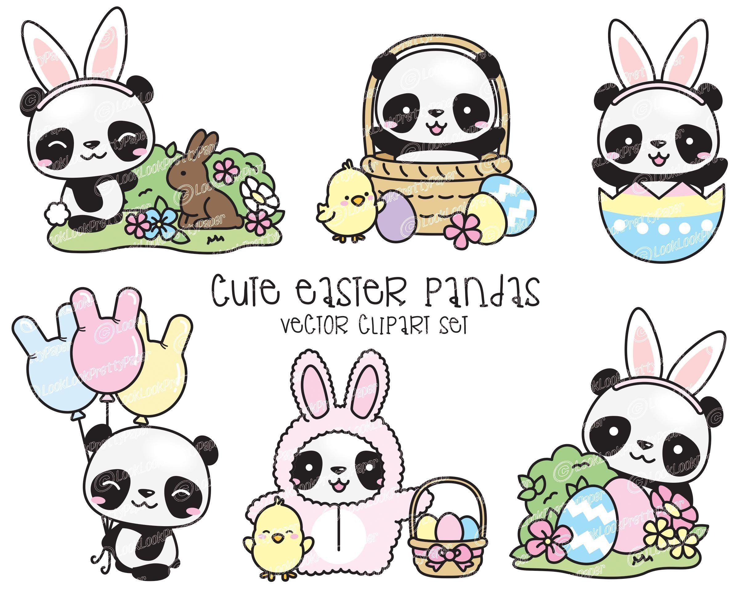 Premium Vector Clipart Kawaii Easter Pandas Cute Easter Panda