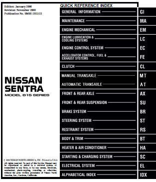 2000 nissan sentra workshop manual