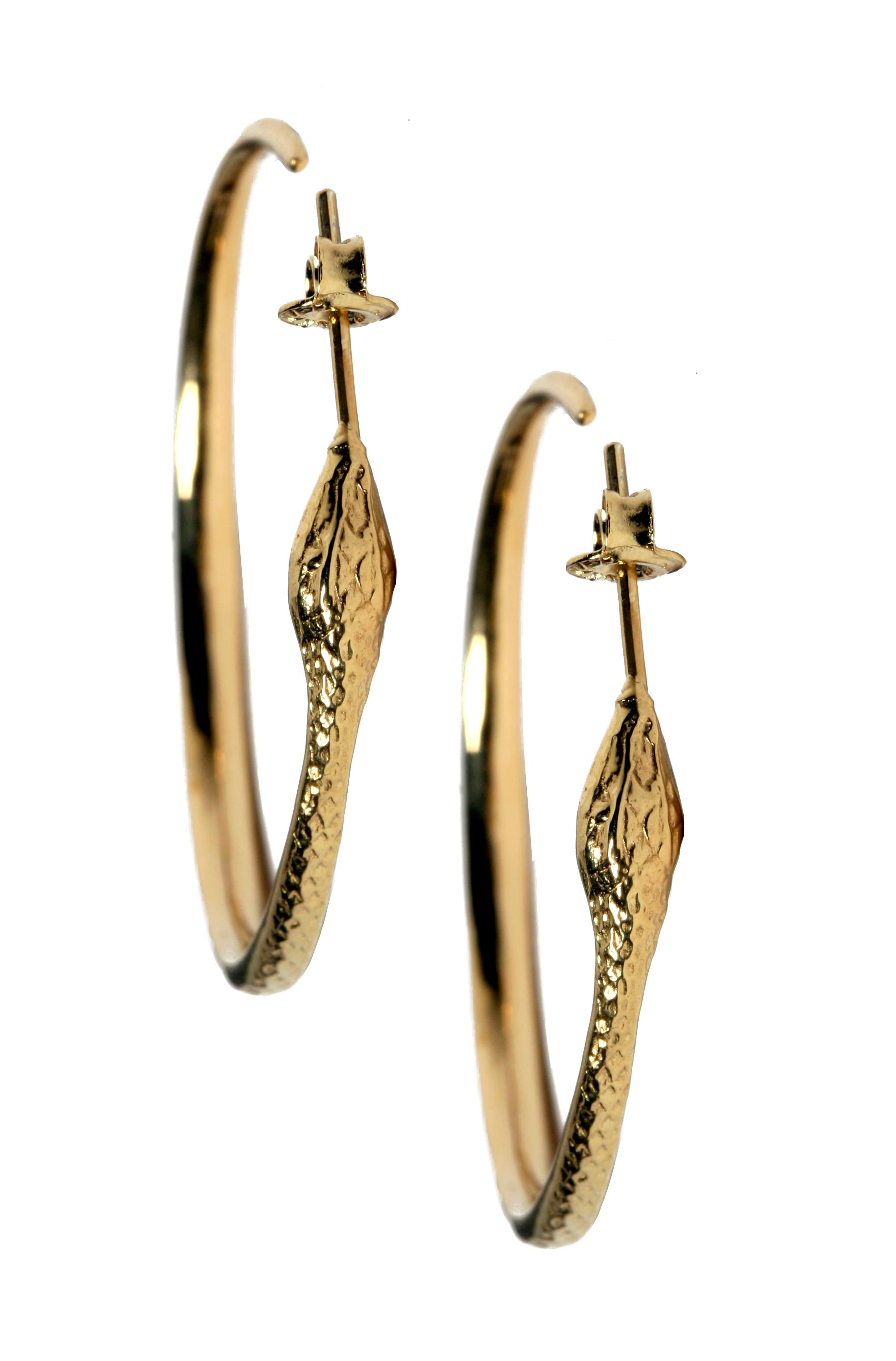 Gold Snake Hoop Earrings 18k Gold Plated Vintage Inspired Eddera