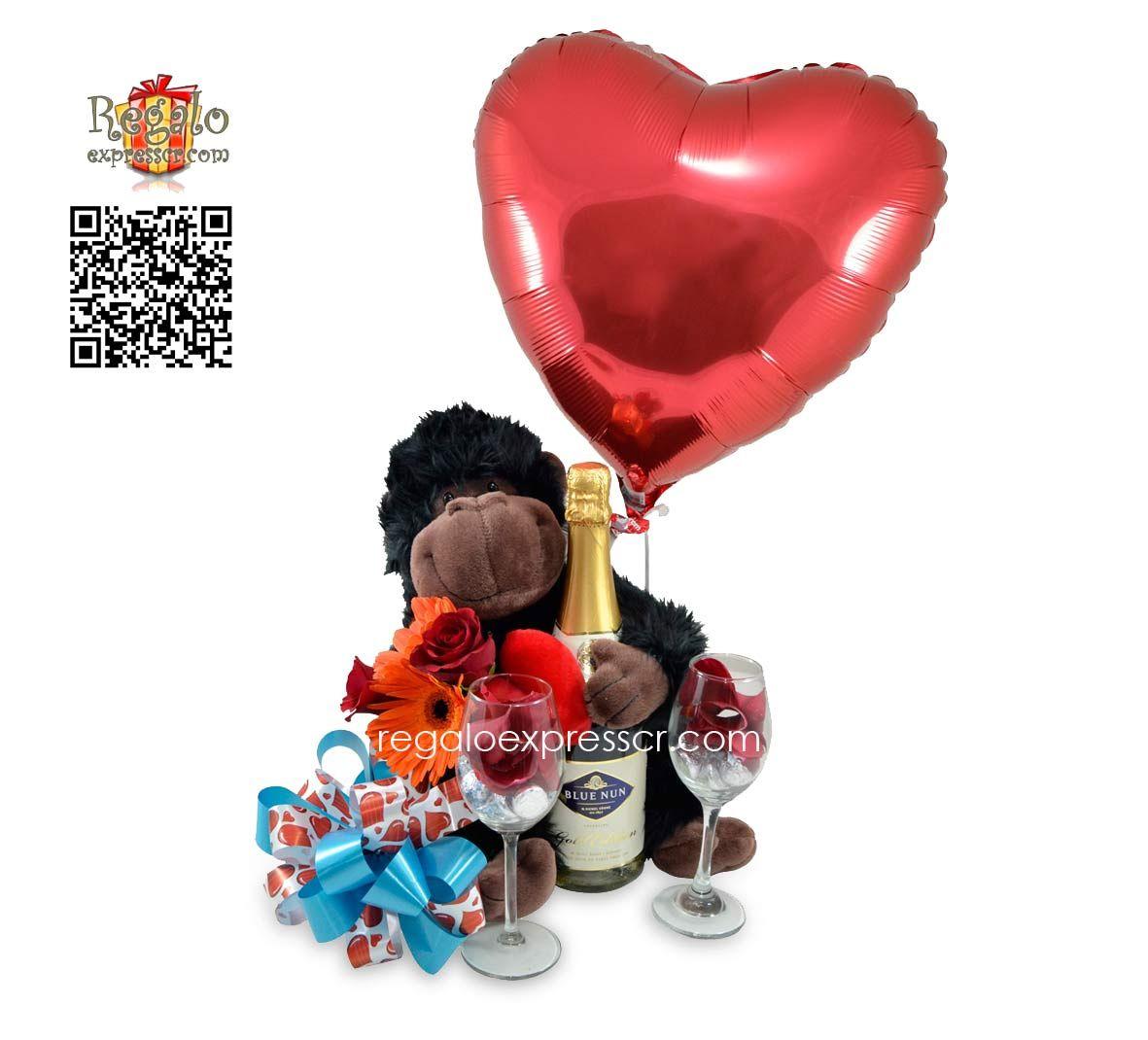 Incluye Gorila De Peluche Marca Russ Arreglo De Flores Primaverales Y Rosas 2 Copas Rellenas De Besitos De Chocolate H With Images Chocolate Bouquet Balloons Valentines