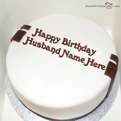 write name on simple birthday cake for husband picture