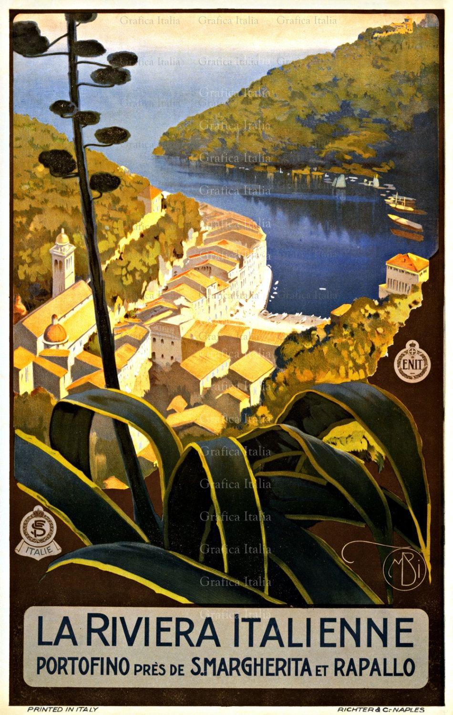 Italian Riviera Vintage Italy TRAVEL Poster, Printable, Wall Decor ...