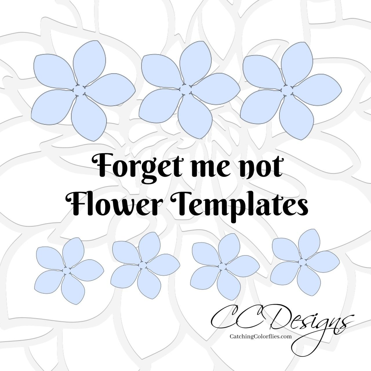 Forget Me Not Paper Flower Templates Flower Template Paper