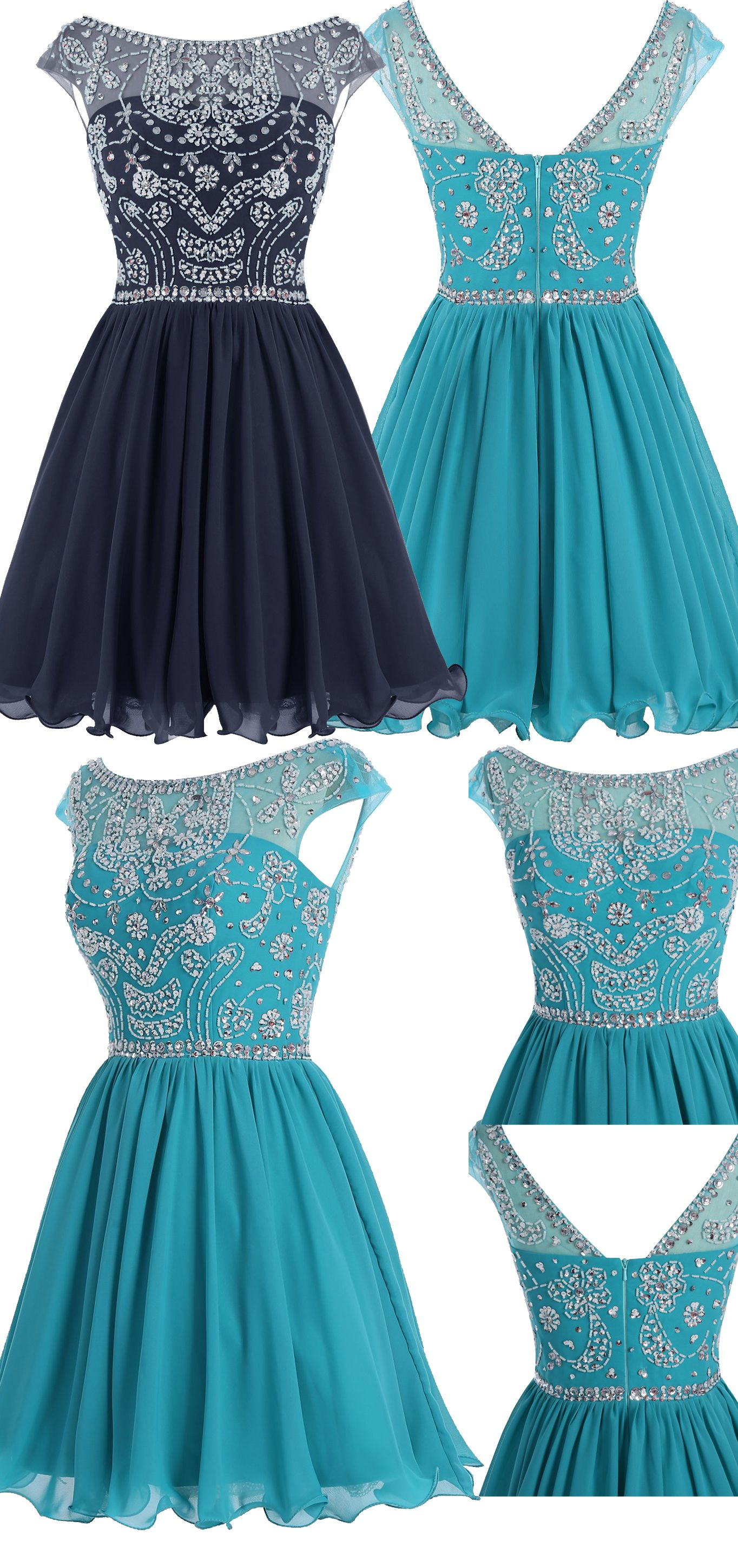 Navy Prom Dress,Beading Homecoming Dress,A Line Homecoming Dress ...