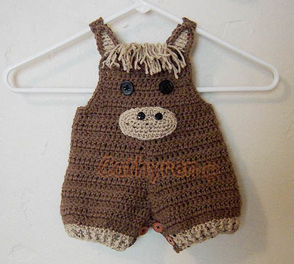 Baby Pony Shortall, Overall Shorties, Buttons at Legs for Easy Change – INSTANT DOWNLOAD Crochet Pattern