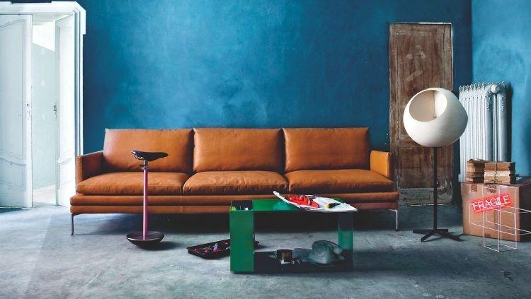 simples braunes Sofa im Industrial Stil - William 1330 - Wohnzimmer Braunes Sofa