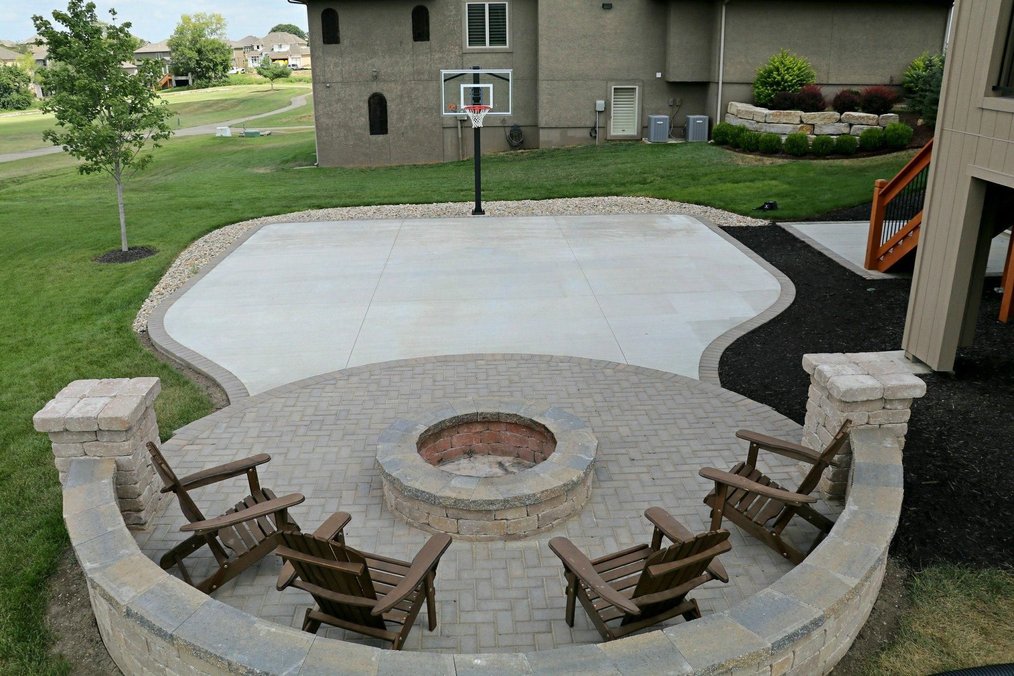This Home Is Hardscape Because There Is No Design Or Flowers Its Modern And Has Brick Outdoor Basketball Court Backyard Backyard Basketball Fire Pit Backyard Backyard landscaping ideas with basketball court