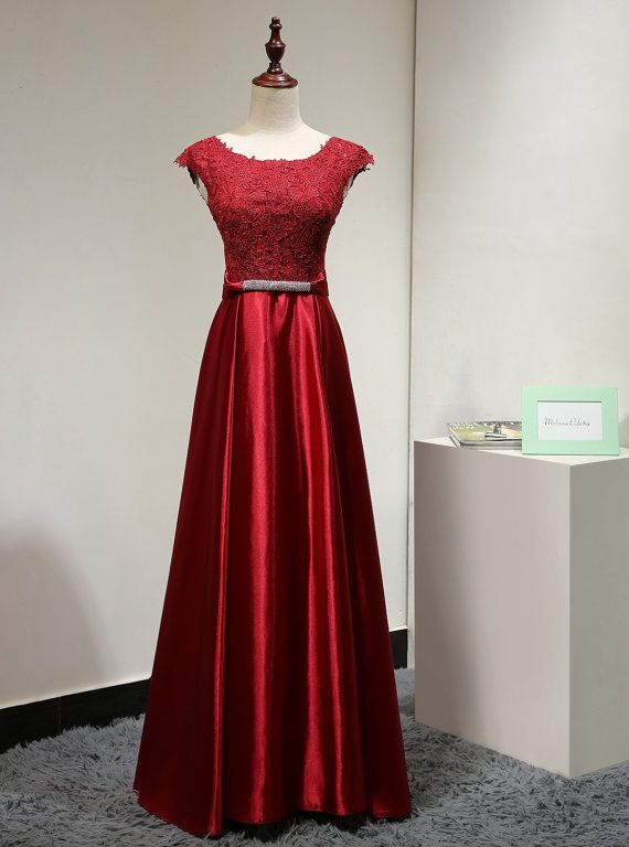 ea414171ff10 Burgundy Long Satin A-Line Formal Dress Featuring Lace Scoop Neck Cap Sleeve  Bodice