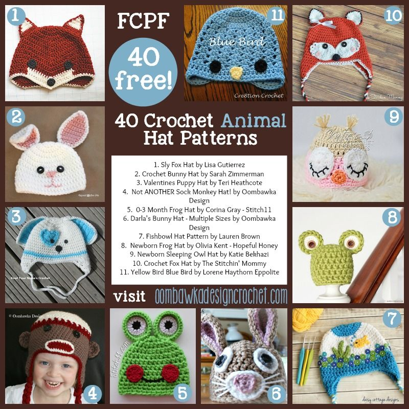 40 Fabulous and Free Crochet Animal Hat Patterns | Gorros, De ...