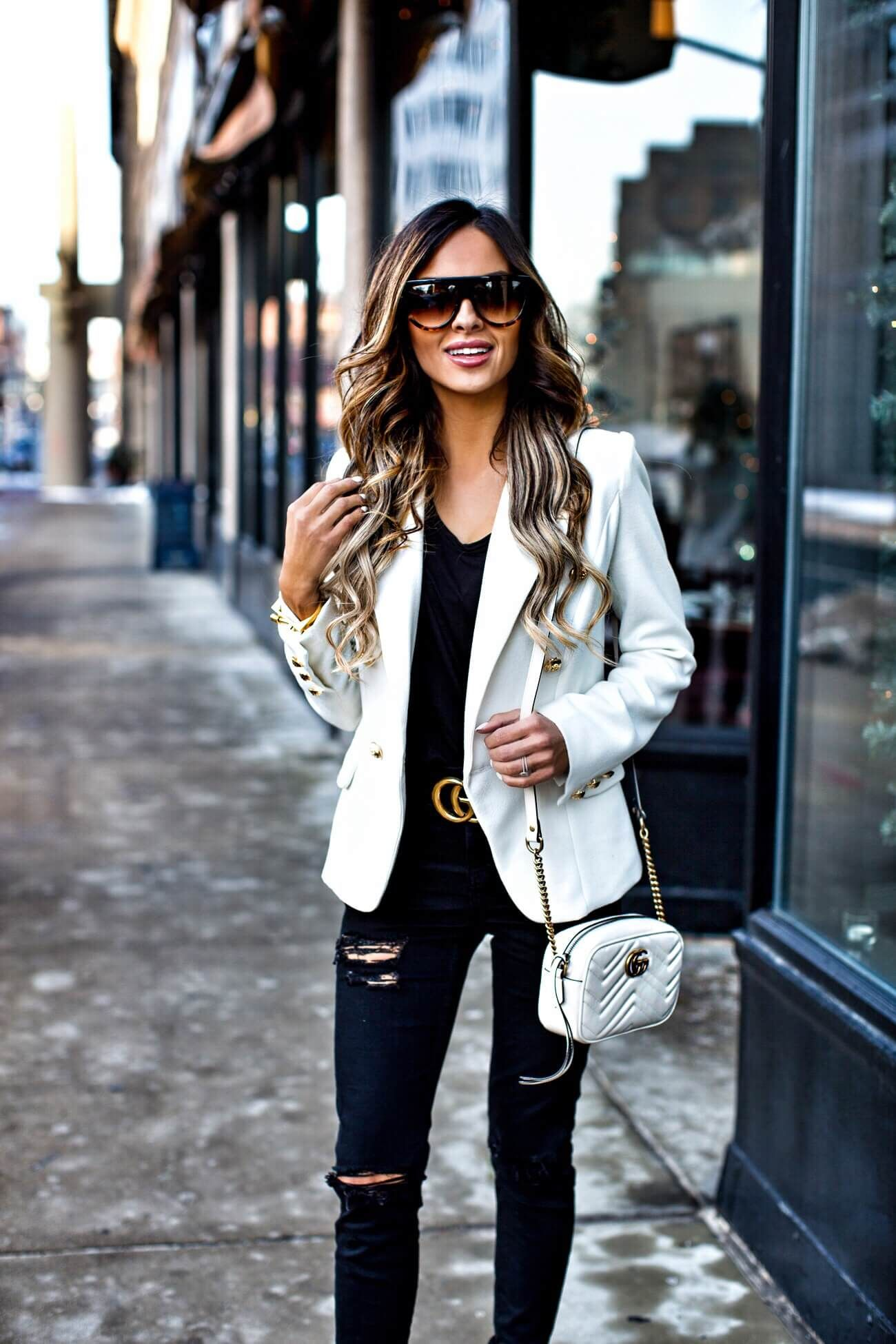 57aaf8cb7f6e mn fashion blogger mia mia mine wearing a white blazer from revolve and a  gucci double g buckle belt