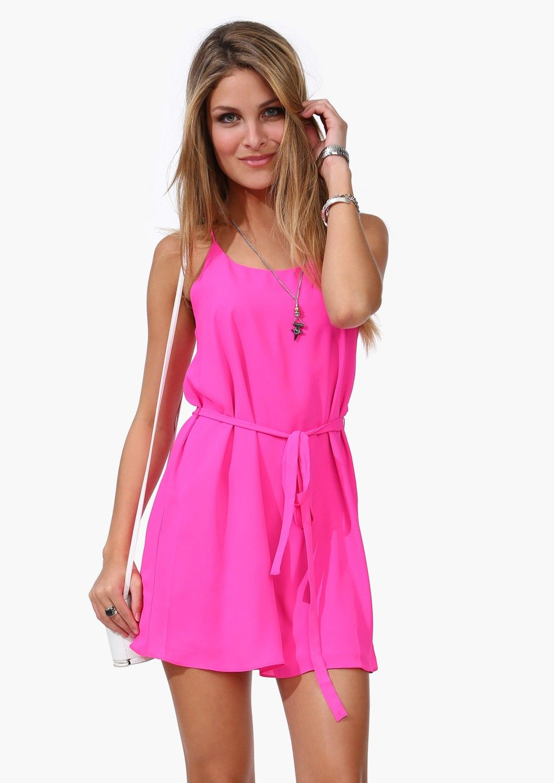 Vestido correa de espagueti con cinto-rosa EUR€14.70 | Vestidos ...