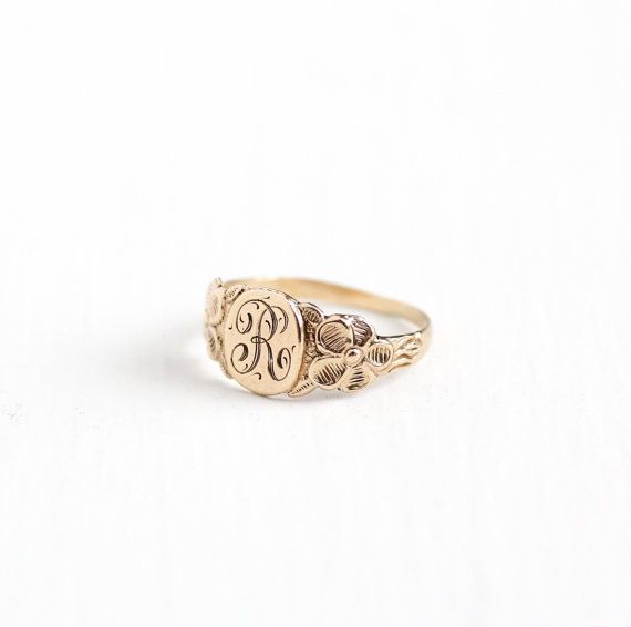 Vintage 10k Rosy Yellow Gold Letter R Signet Ring 1920s Art Deco Size 2 1 4 Midi Petite Children S Fine Ar Initial Jewelry Diy Pearl Necklace Vintage Jewelry