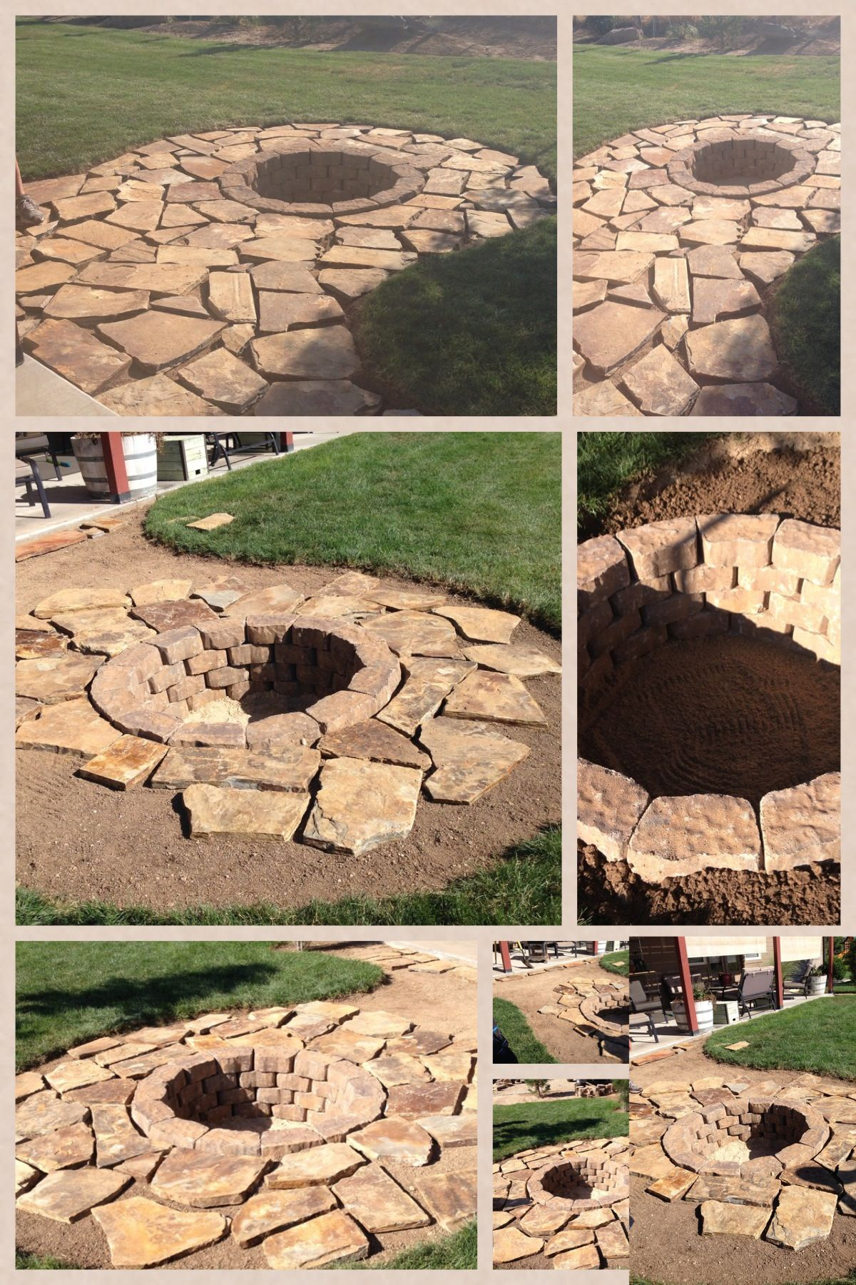 Step by step flag stone fire pit using the pavers we for Step by step fire pit
