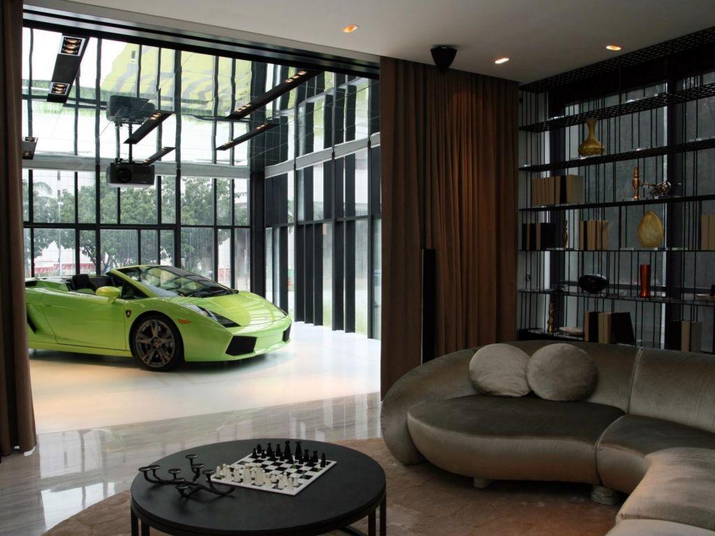 Interior Green Luxurious Car In Living Room Car Garage Design