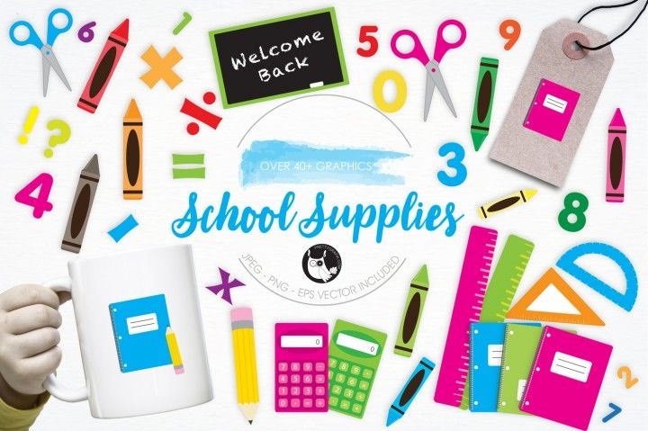 School Supplies graphics and illustrations By Prettygrafik Design
