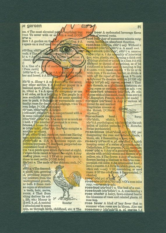 Chicken on vintage dictionary page, matted and ready to frame, Etsy
