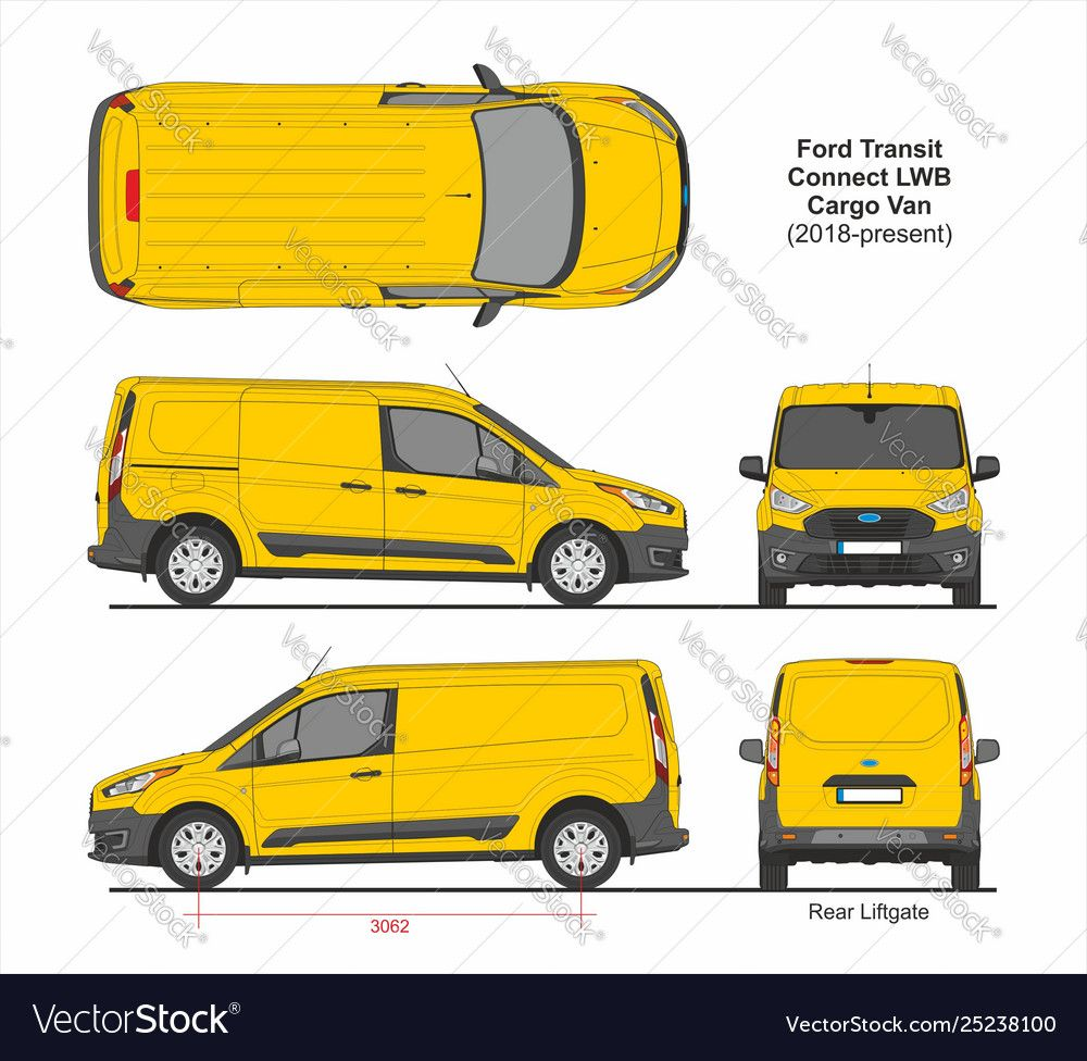 Ford Transit Connect Lwb Cargo 5 Doors Van 2018 Vector Image On
