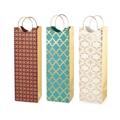 Assorted Luxe Pattern Wine Bags By Cakewalk Products