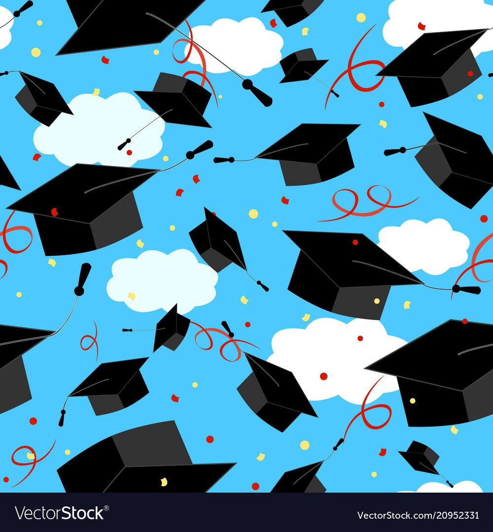 Graduation Caps In The Air Graduate Background Vector Seamless Pattern Download A Free Pre Graduation Wallpaper Graduation Photography Wallpaper Backgrounds