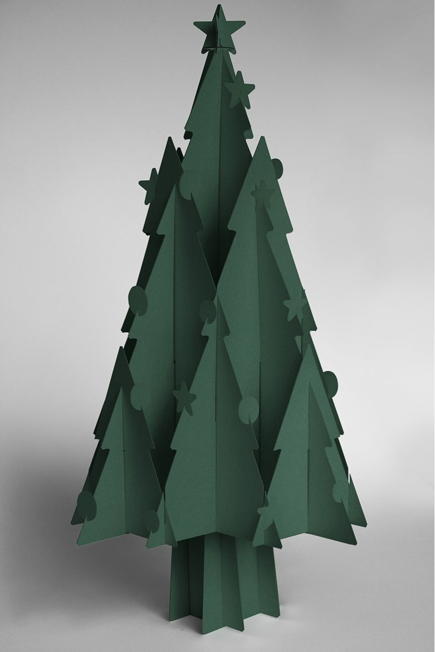 recycled cardboard christmas trees moderno - Large Cardboard Christmas Decorations