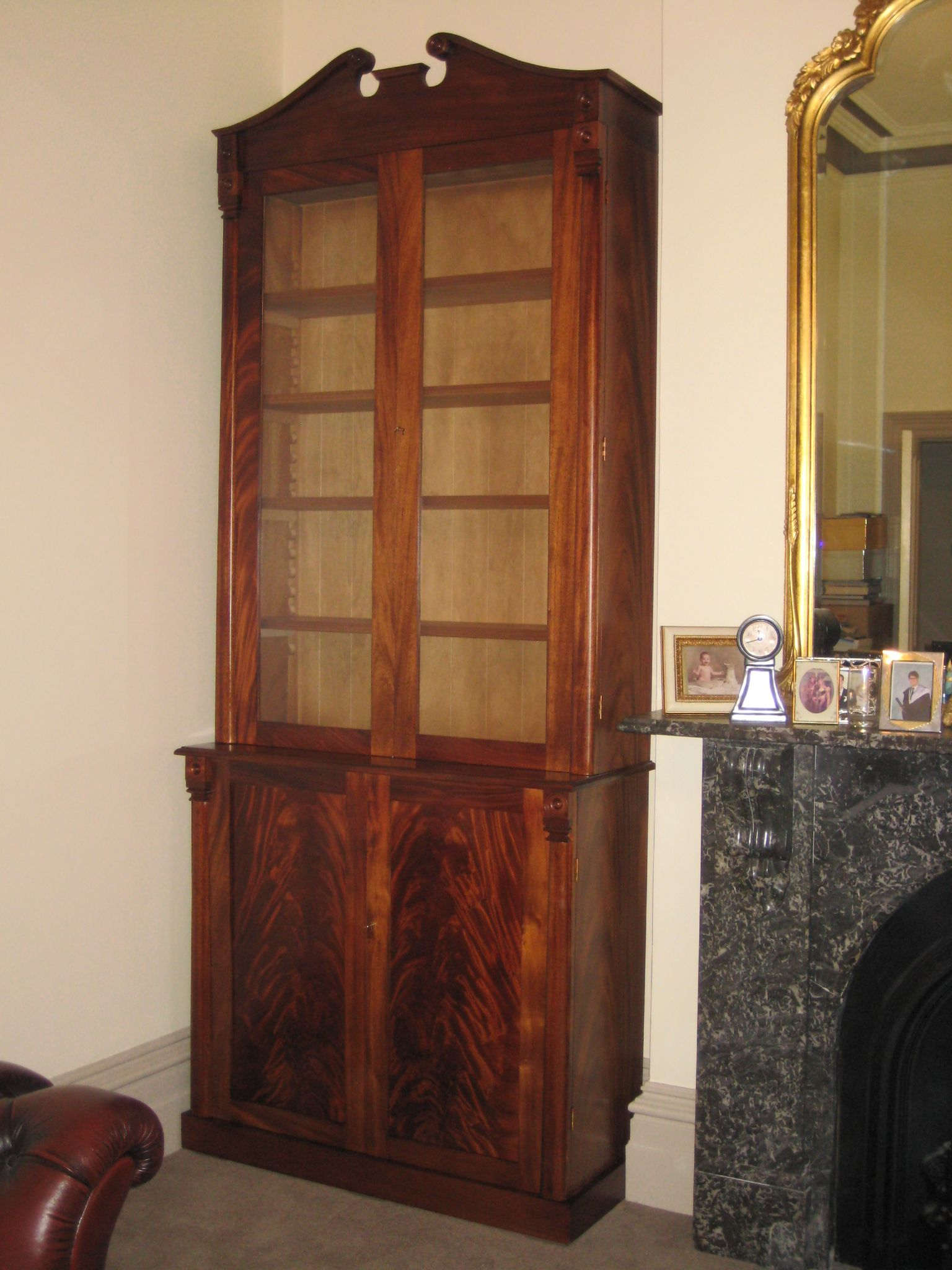A Superb Hand Made Antique Reproduction Bookcase One Of Pair Magnificently Crafted For
