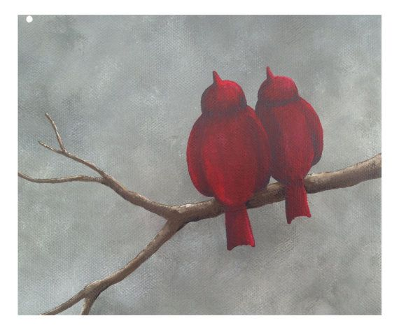Abstract Landscape Painting of Lovebirds by LittleSparrowGallery