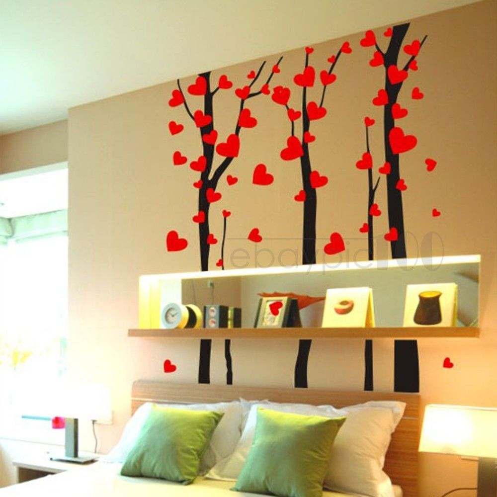 Wall Sticker Decal Art Mural Bedroom Home Decor Love Heart Tree ...