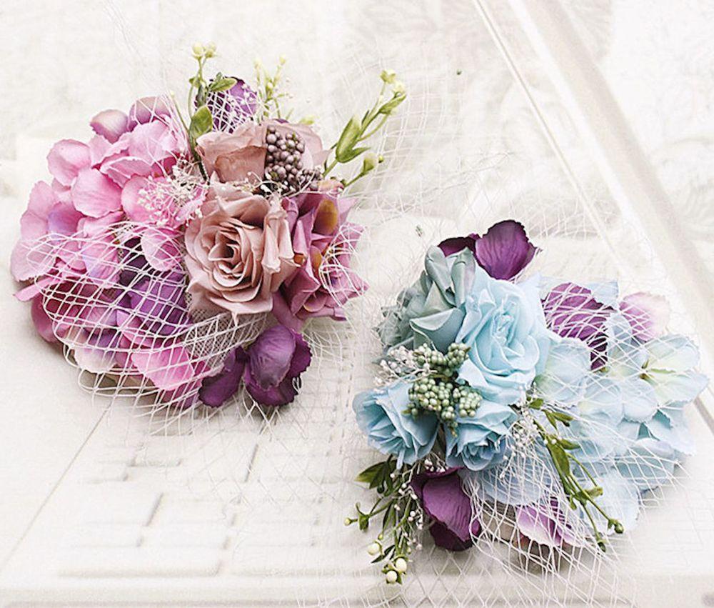 Wedding bridal pink blue flower hair alligator clip headpiece