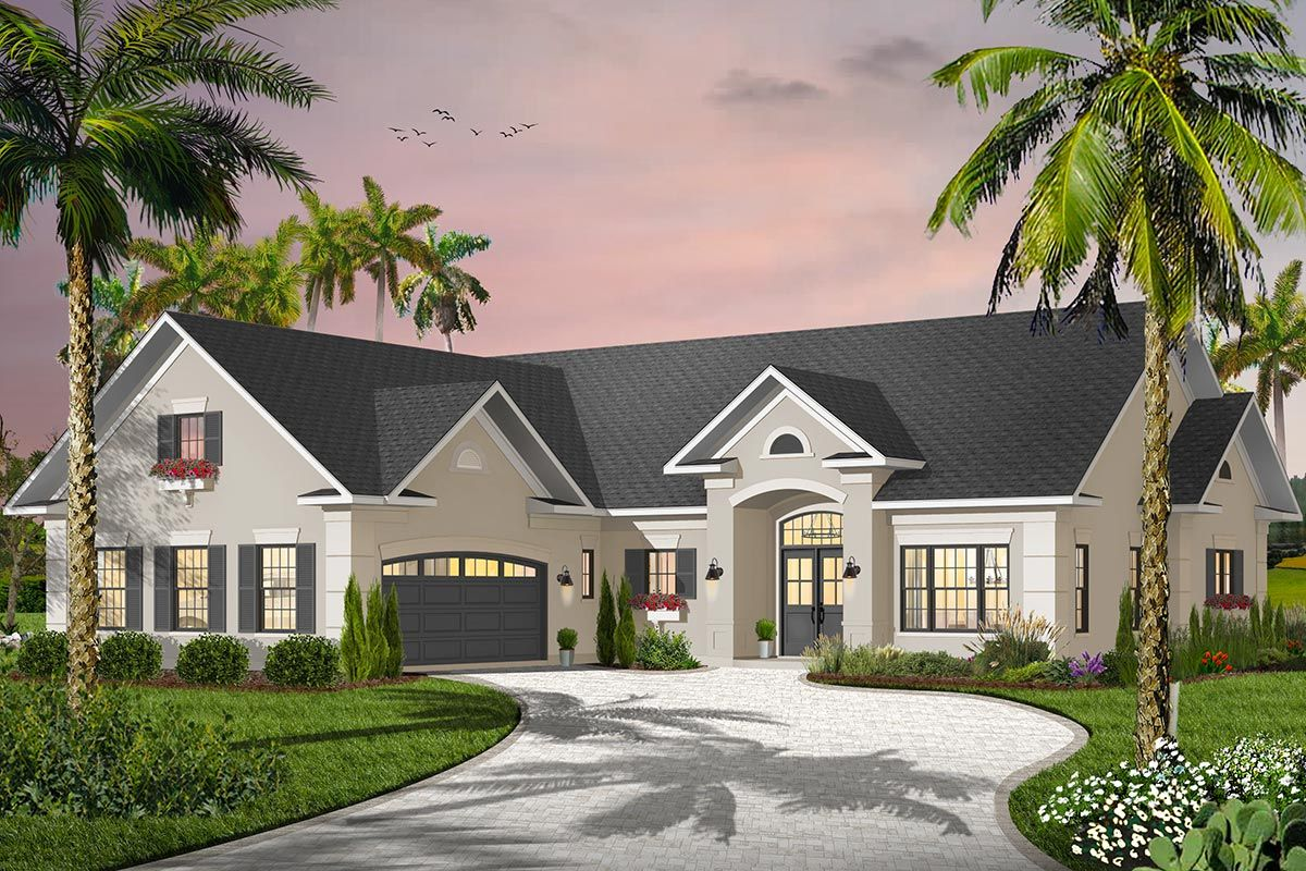 Plan 21648dr 3 Bed House Plan With Courtyard Garage And Bonus Above Courtyard House Plans Drummond House Plans Garage House Plans