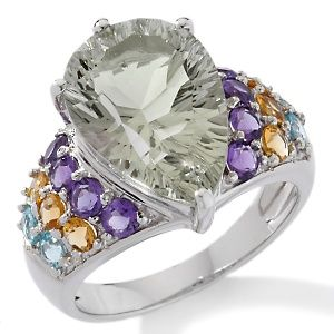 Hsn Jewelry Boxes Custom 631Ct Prasiolite And Gemstone Sterling Silver Pearshaped Ring At Review