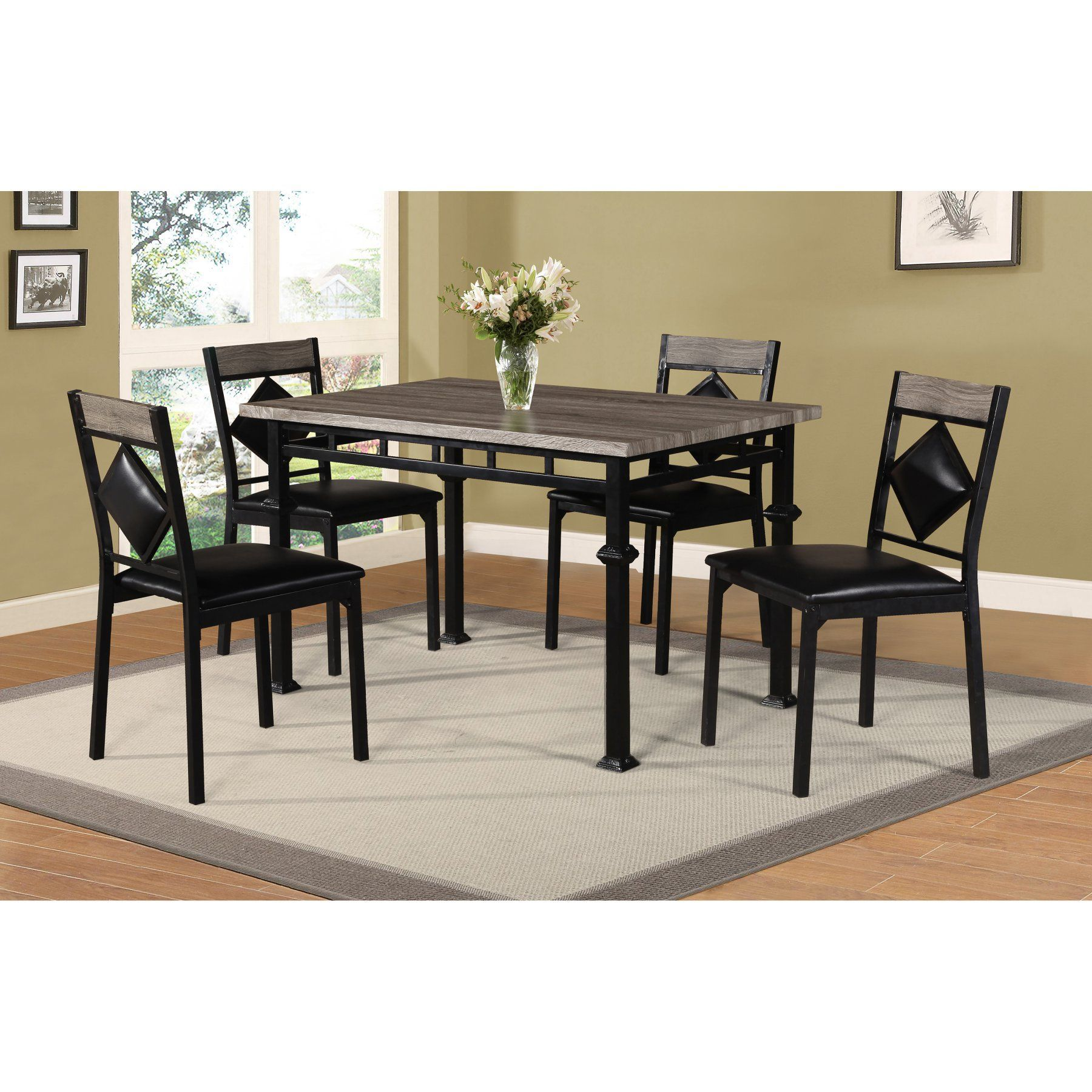 Home Source Industries 5 Piece Metal Dining Table Set 4395